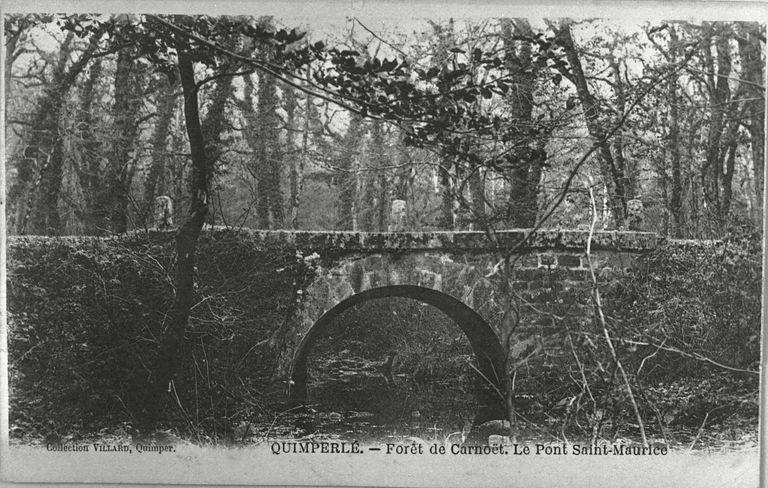Forêt de Carnoët, le pont Saint-Maurice (détruit). Carte postale, vers 1900 (A.D. Finistère, 1 Fi)