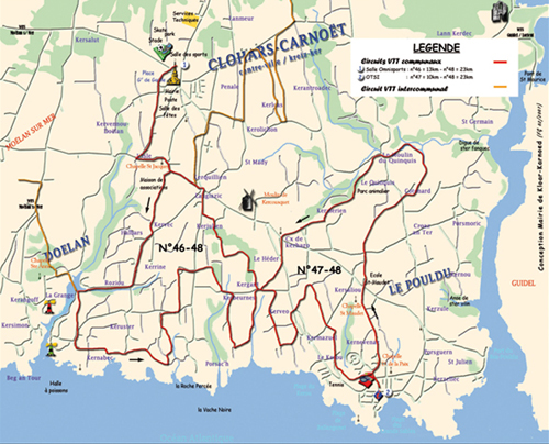 Plan du circuit VTT de Clohars-Carnoët